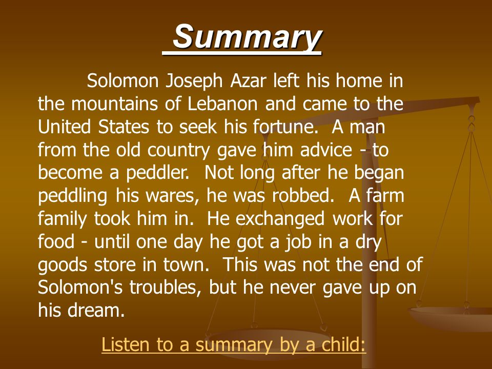 Listen to a summary by a child: