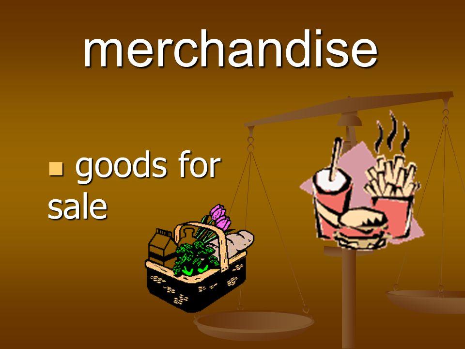 merchandise goods for sale