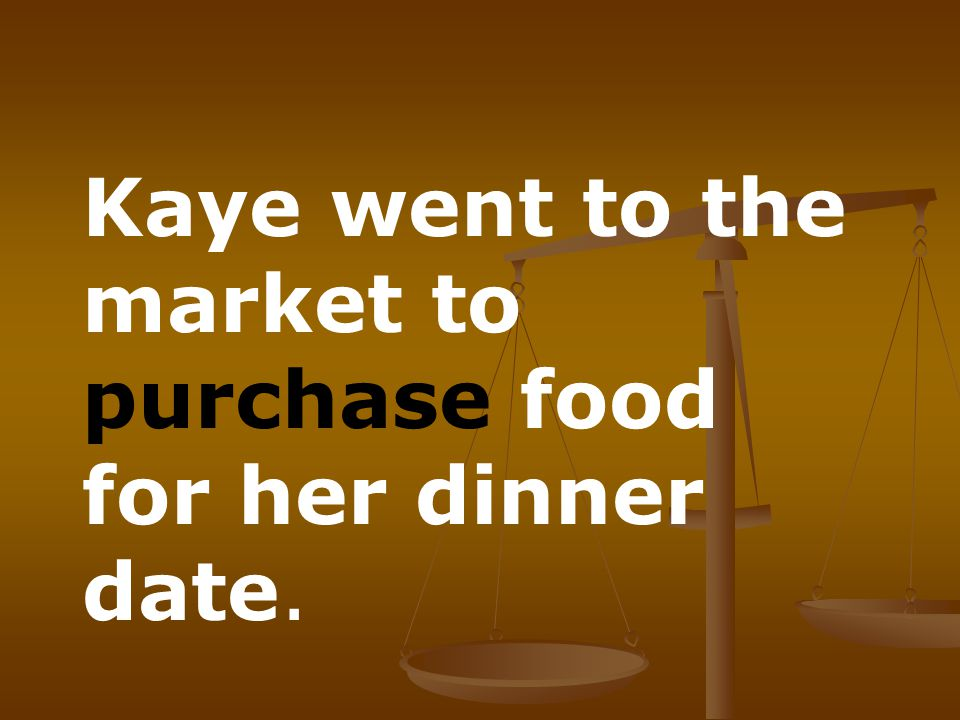 Kaye went to the market to purchase food for her dinner date.