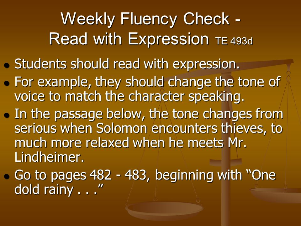 Weekly Fluency Check - Read with Expression TE 493d
