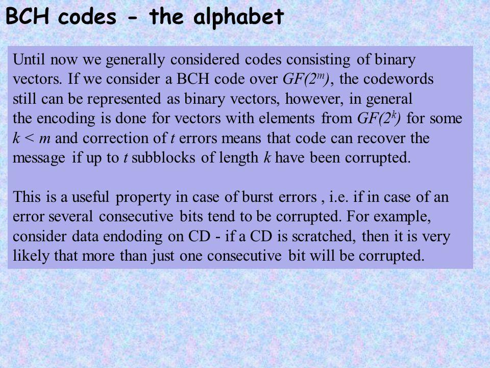 BCH codes - the alphabet