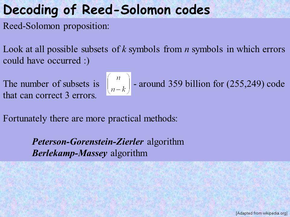 Decoding of Reed-Solomon codes