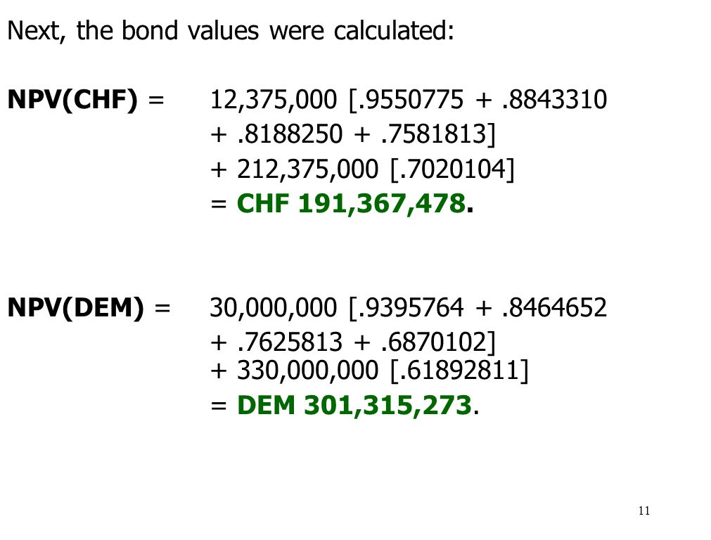 Next, the bond values were calculated: