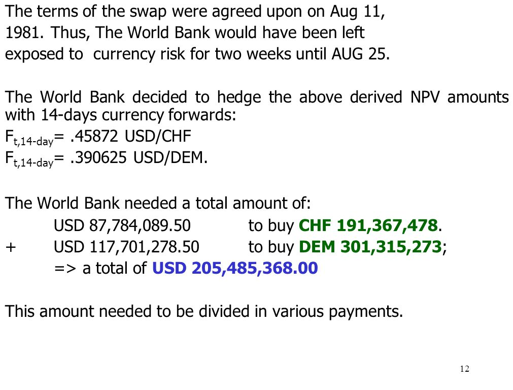 The terms of the swap were agreed upon on Aug 11,