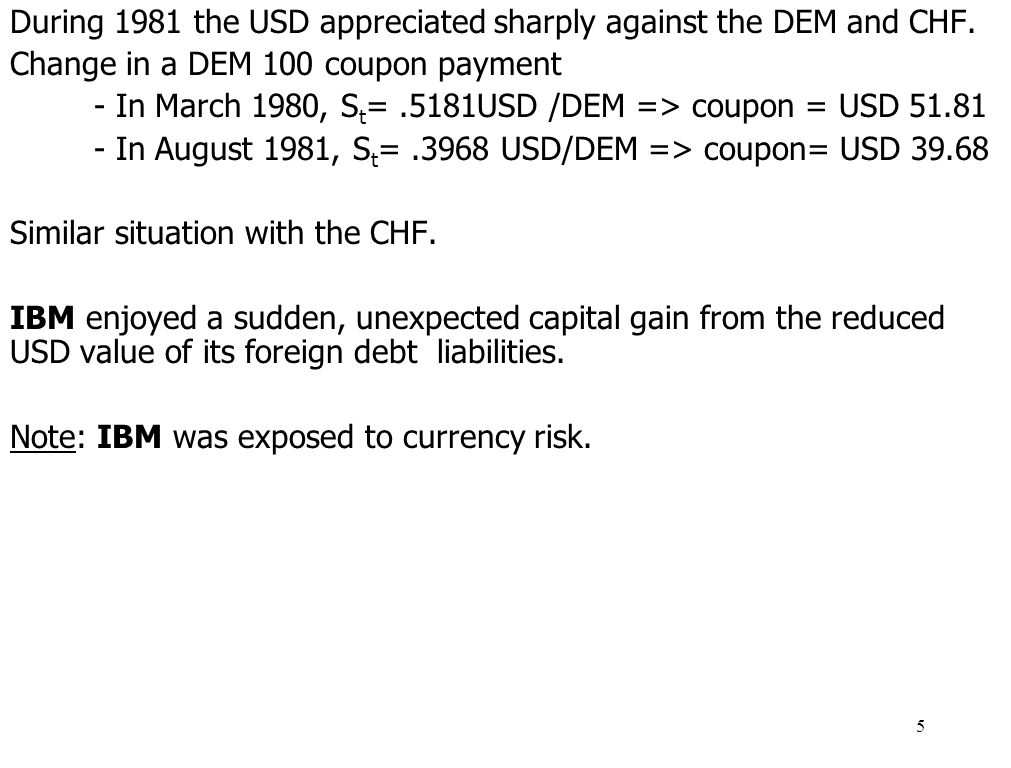 During 1981 the USD appreciated sharply against the DEM and CHF.