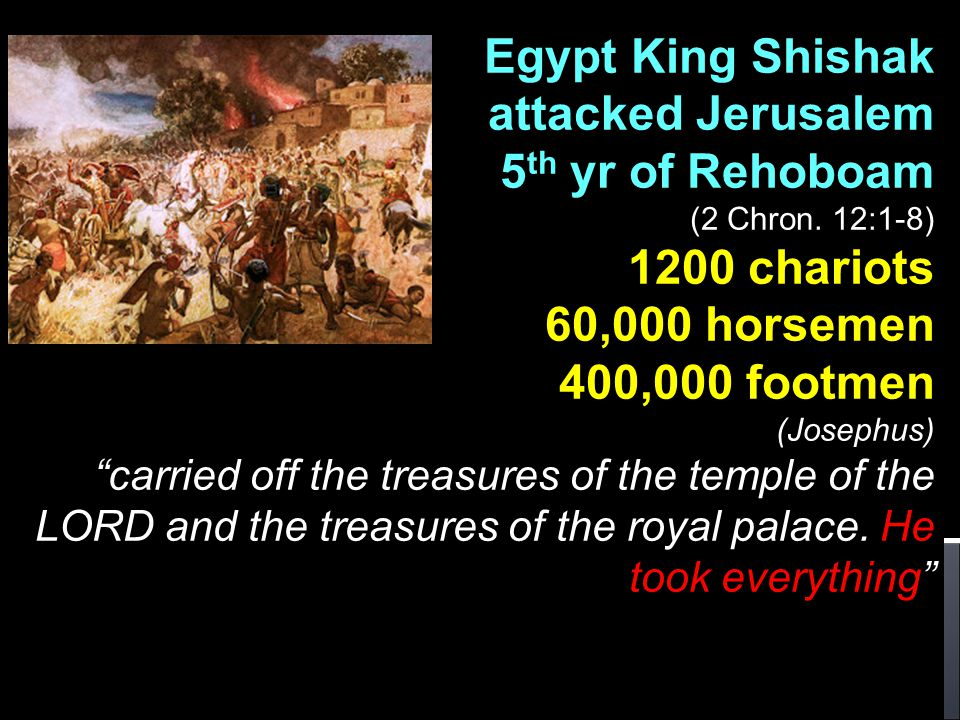 Egypt King Shishak attacked Jerusalem 5th yr of Rehoboam 1200 chariots