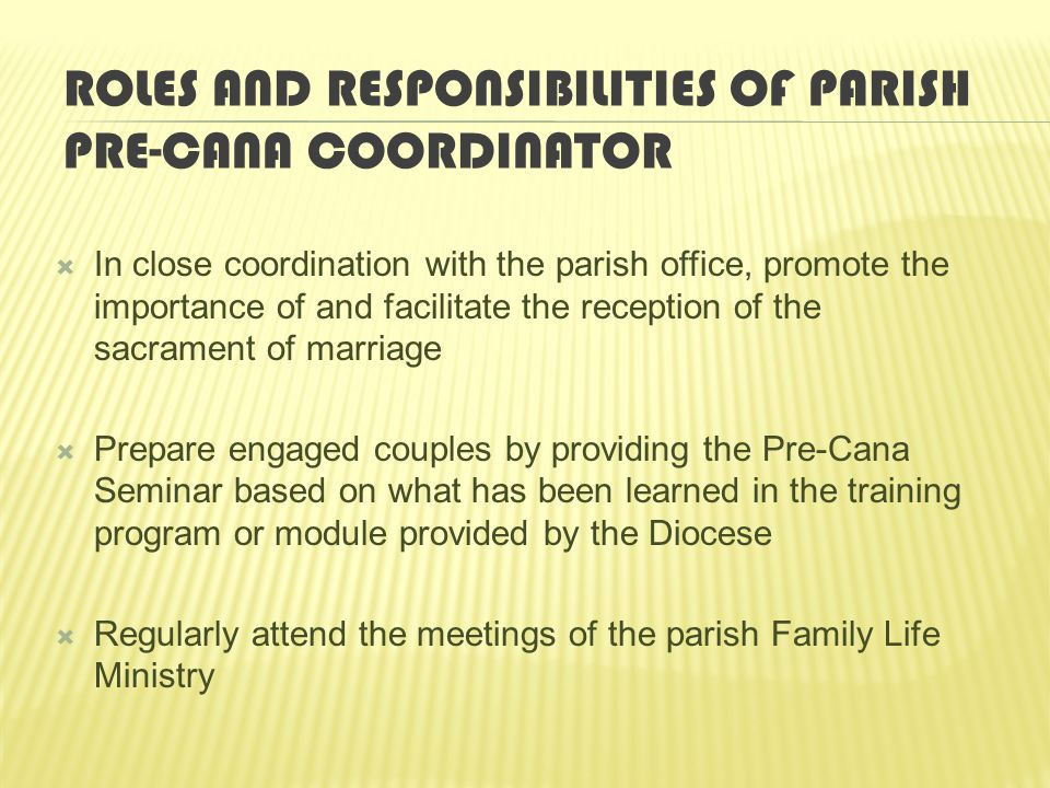 Roles and Responsibilities of Parish Pre-Cana coordinator