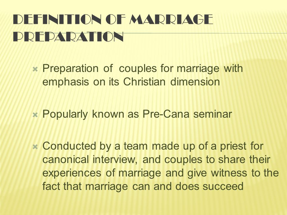Definition of Marriage Preparation