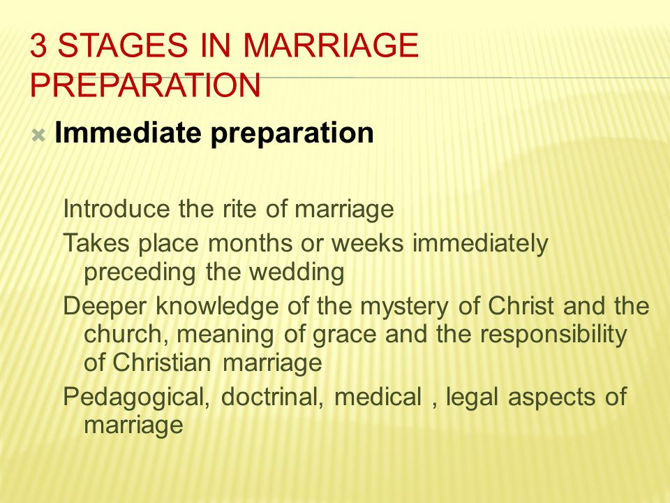 3 Stages in Marriage Preparation