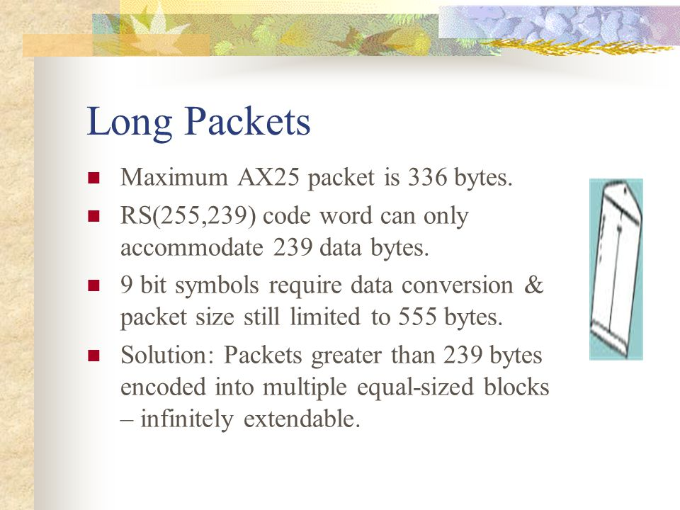 Long Packets Maximum AX25 packet is 336 bytes.