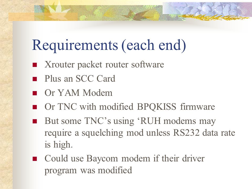 Requirements (each end)