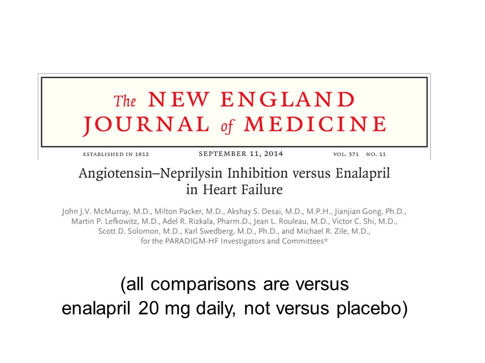 (all comparisons are versus enalapril 20 mg daily, not versus placebo)