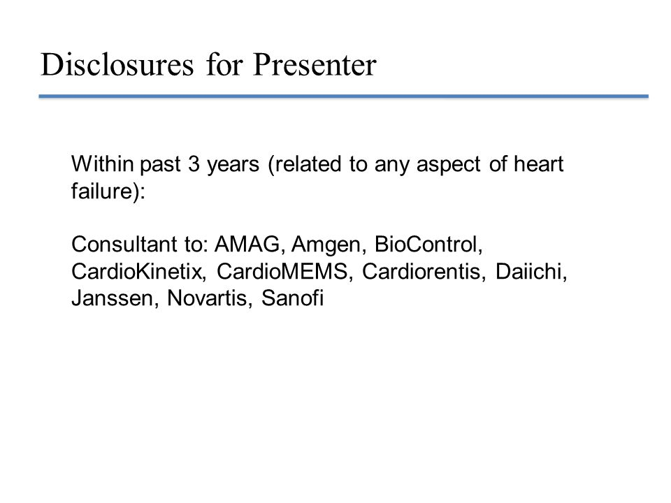 Disclosures for Presenter