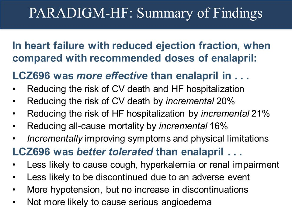 PARADIGM-HF: Summary of Findings