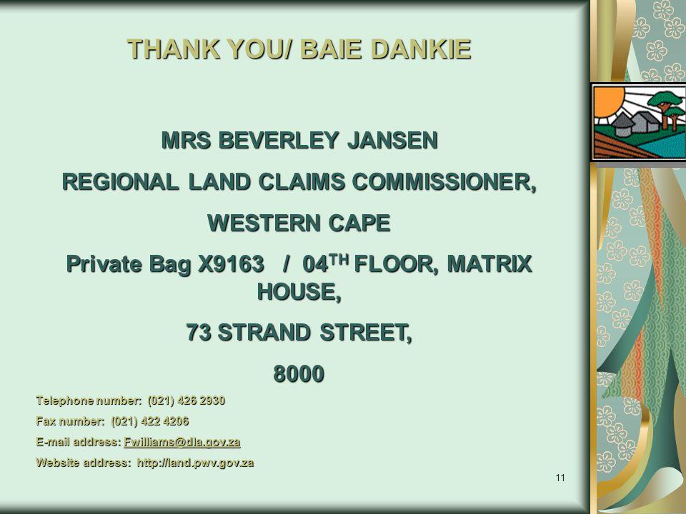 THANK YOU/ BAIE DANKIE MRS BEVERLEY JANSEN