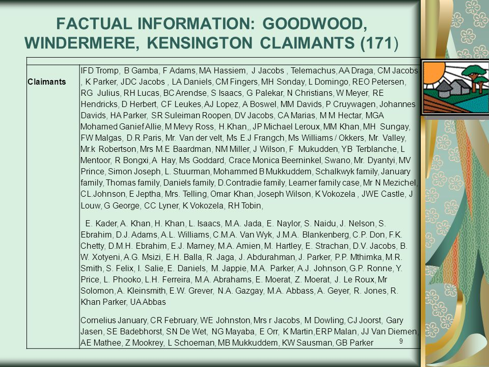 FACTUAL INFORMATION: GOODWOOD, WINDERMERE, KENSINGTON CLAIMANTS (171)