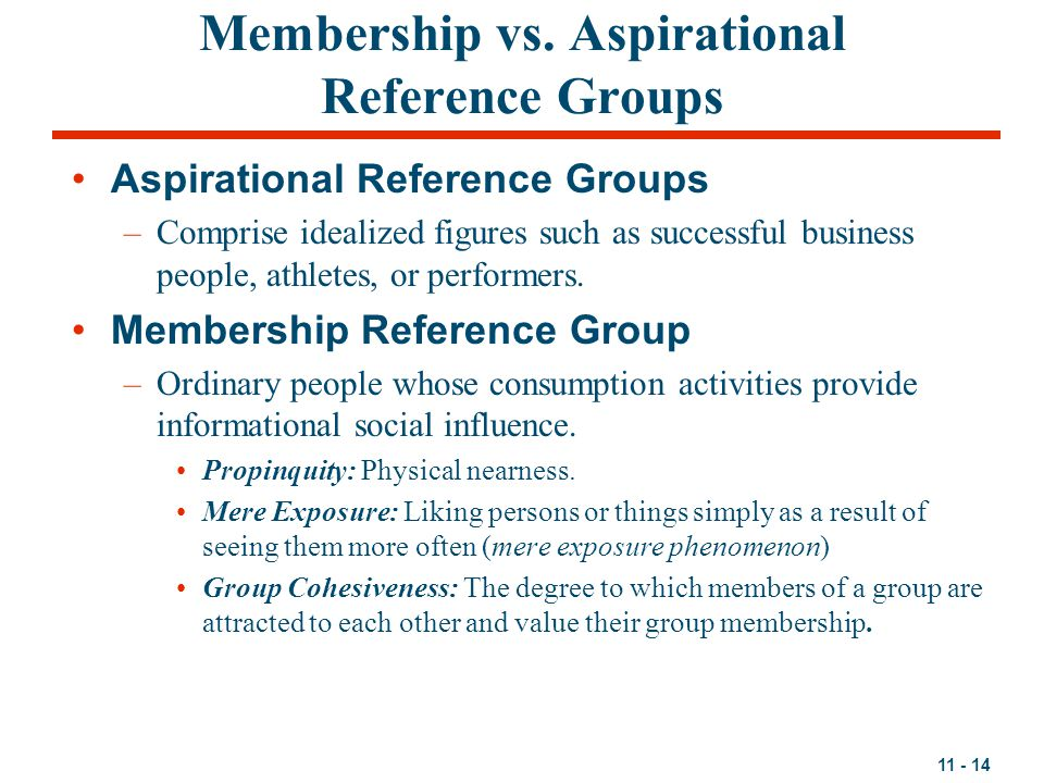 Membership vs. Aspirational Reference Groups
