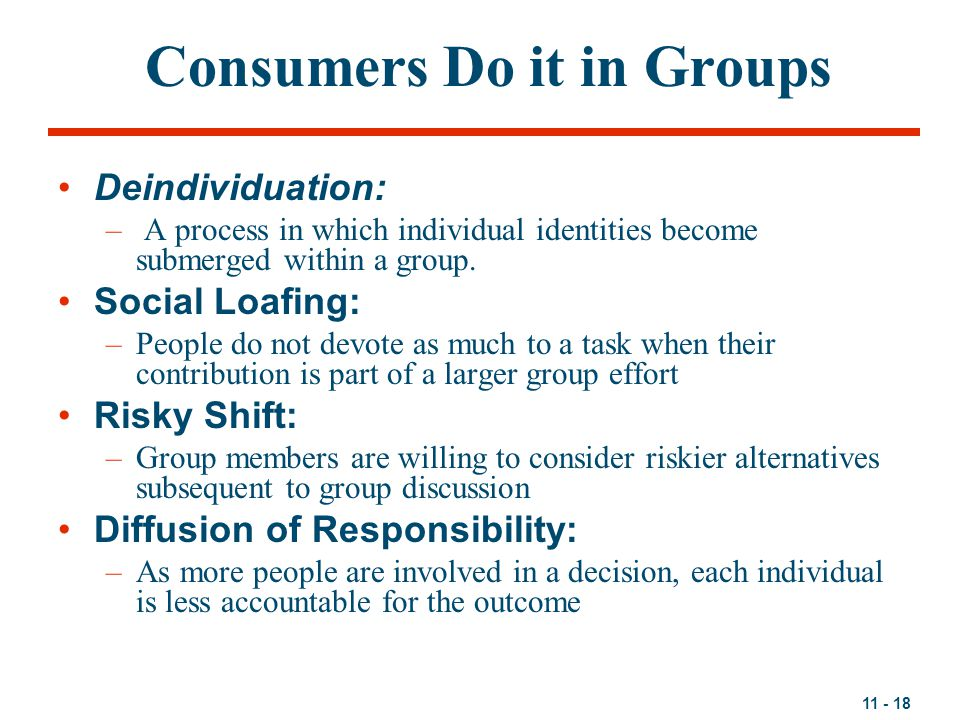 Consumers Do it in Groups