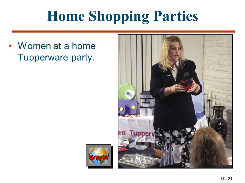 Home Shopping Parties Women at a home Tupperware party.