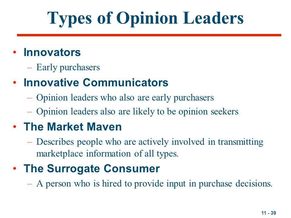 Types of Opinion Leaders