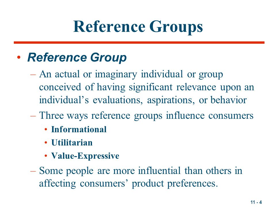Reference Groups Reference Group