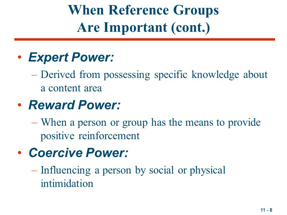 When Reference Groups Are Important (cont.)