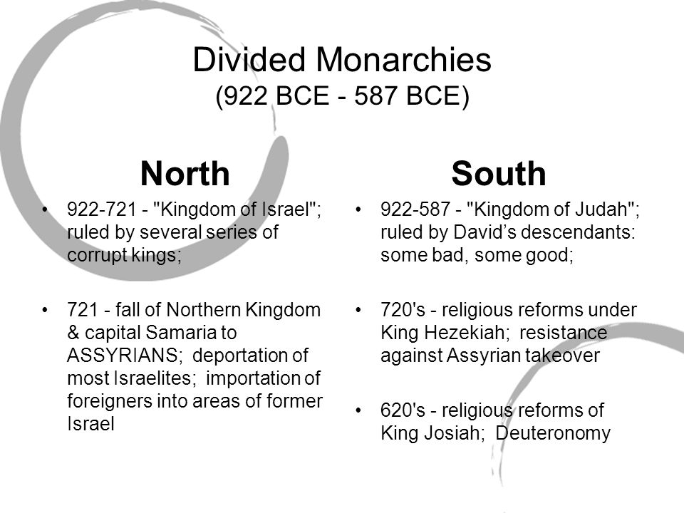 Divided Monarchies (922 BCE - 587 BCE)