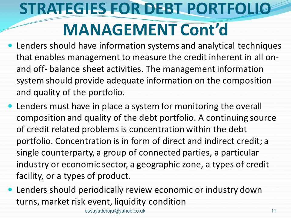 STRATEGIES FOR DEBT PORTFOLIO MANAGEMENT Cont'd