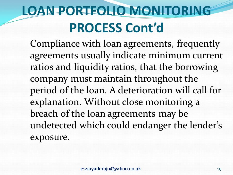 LOAN PORTFOLIO MONITORING PROCESS Cont'd