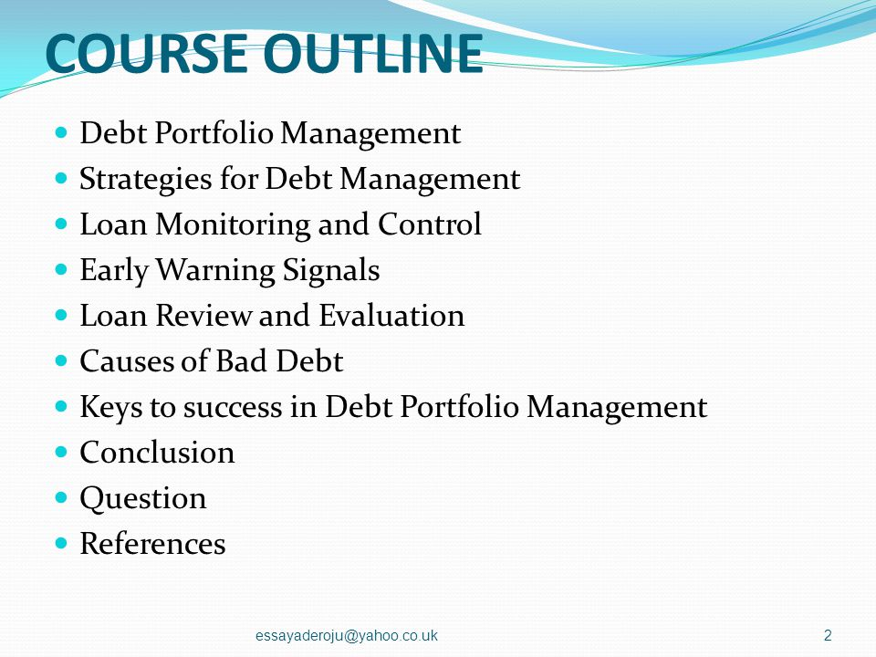 COURSE OUTLINE Debt Portfolio Management