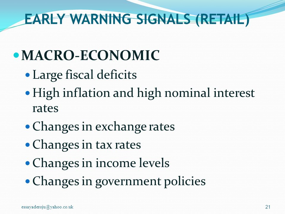 EARLY WARNING SIGNALS (RETAIL)