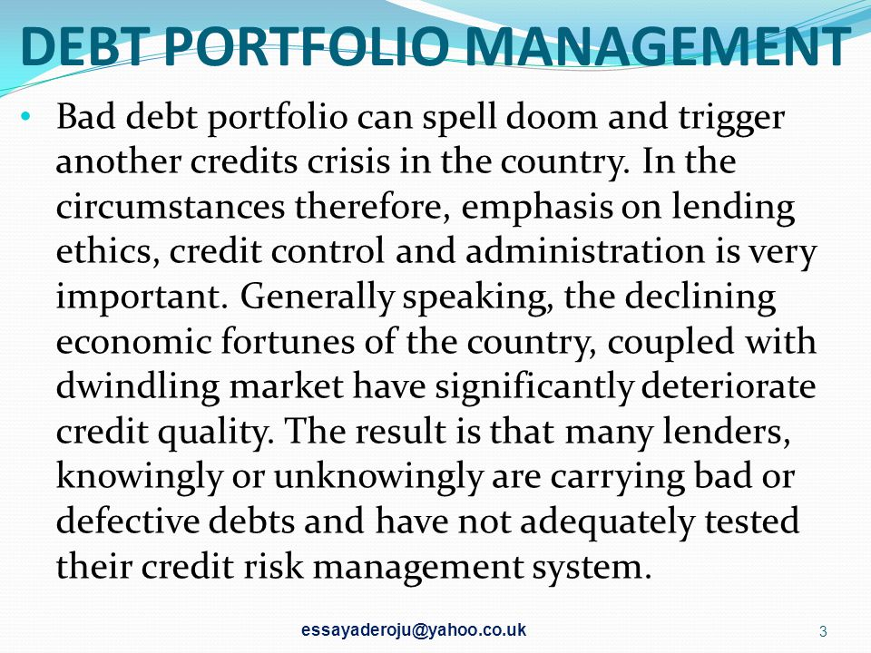 DEBT PORTFOLIO MANAGEMENT