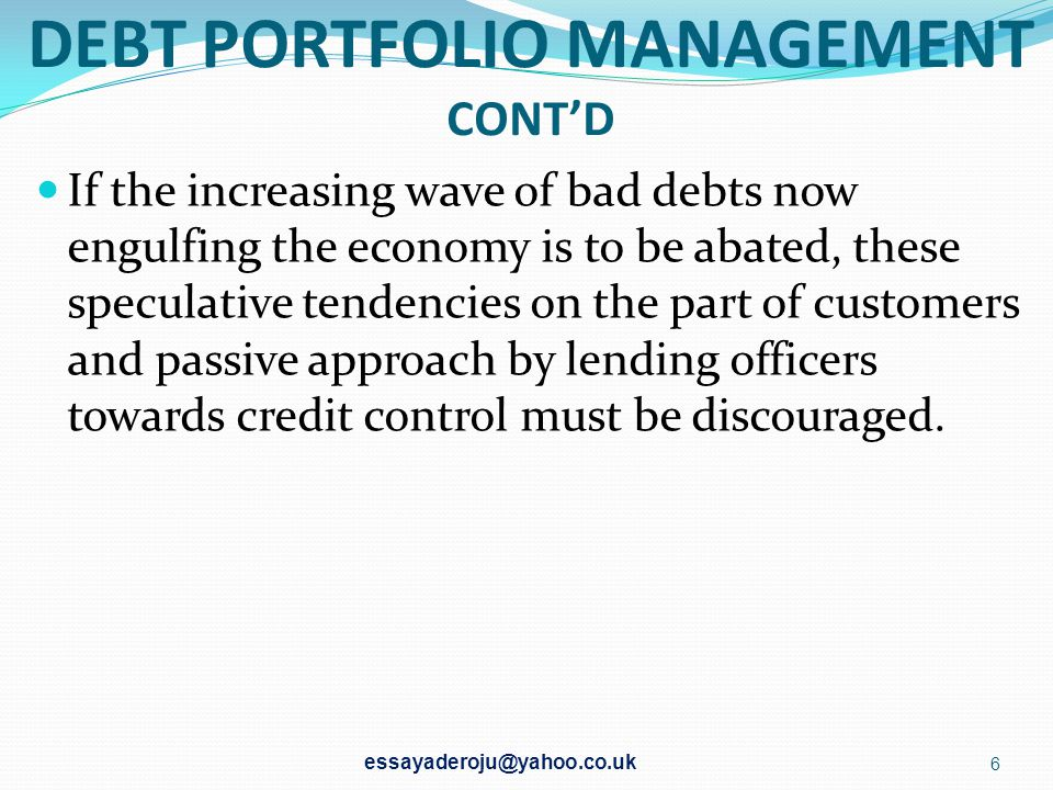 DEBT PORTFOLIO MANAGEMENT CONT'D