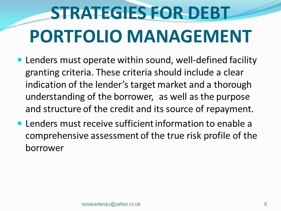 STRATEGIES FOR DEBT PORTFOLIO MANAGEMENT