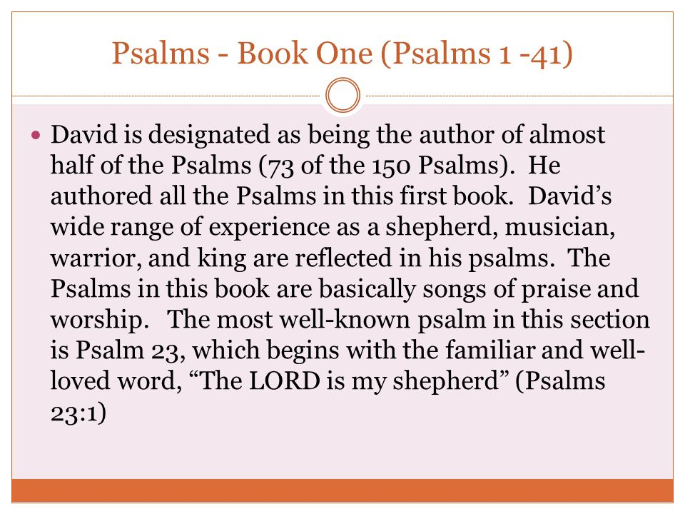 Psalms - Book One (Psalms 1 -41)
