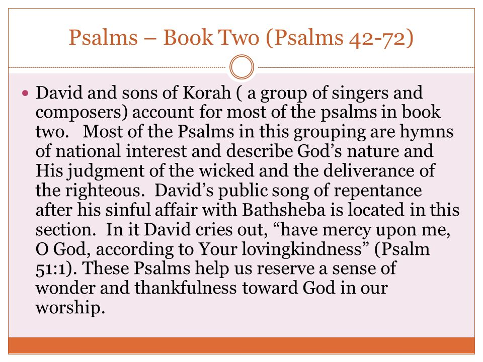Psalms – Book Two (Psalms 42-72)