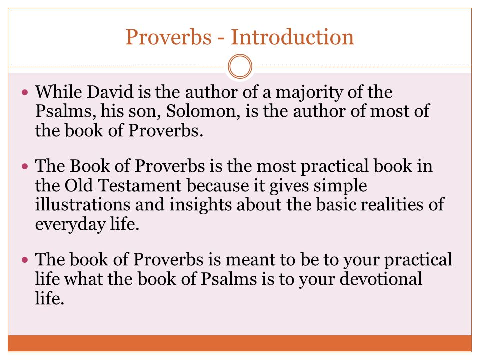 Proverbs - Introduction