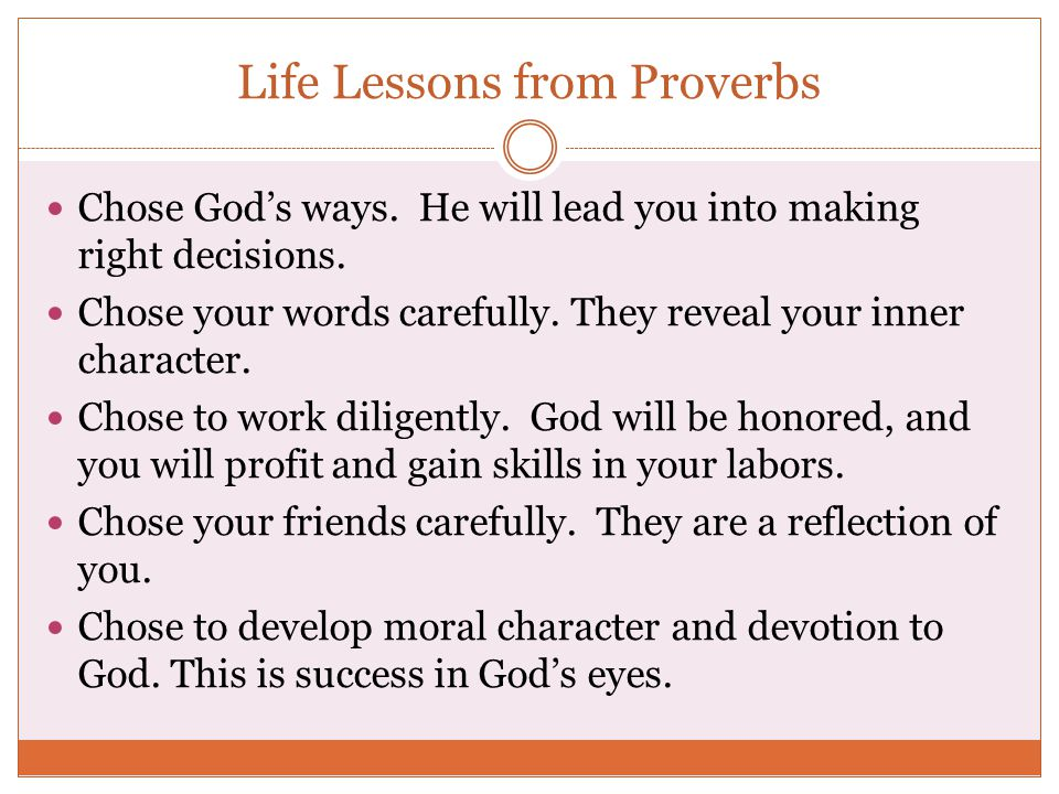 Life Lessons from Proverbs