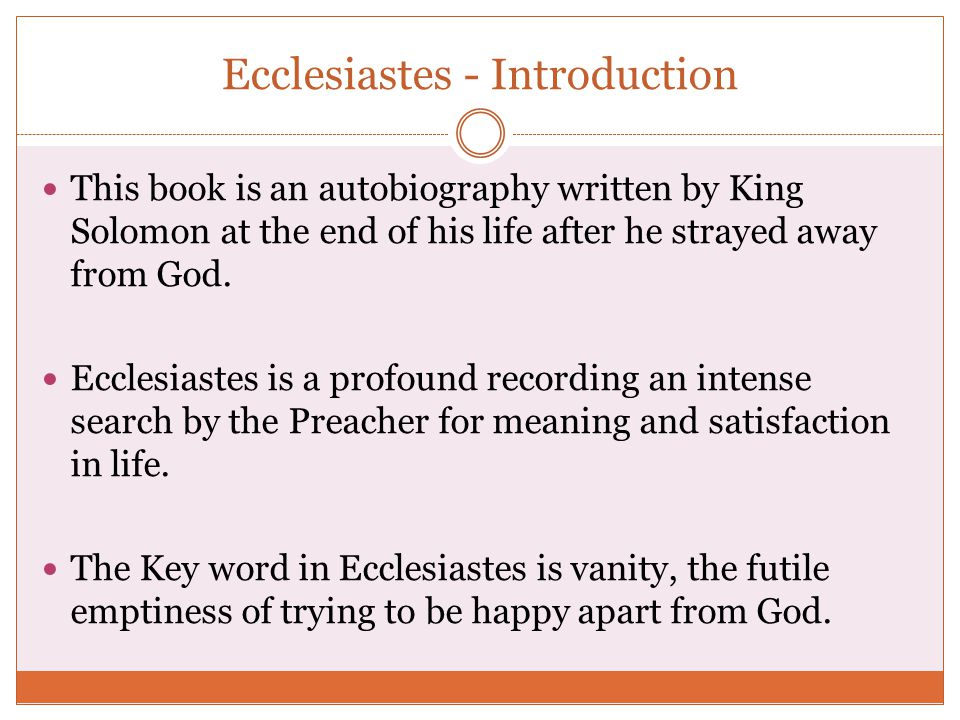 Ecclesiastes - Introduction