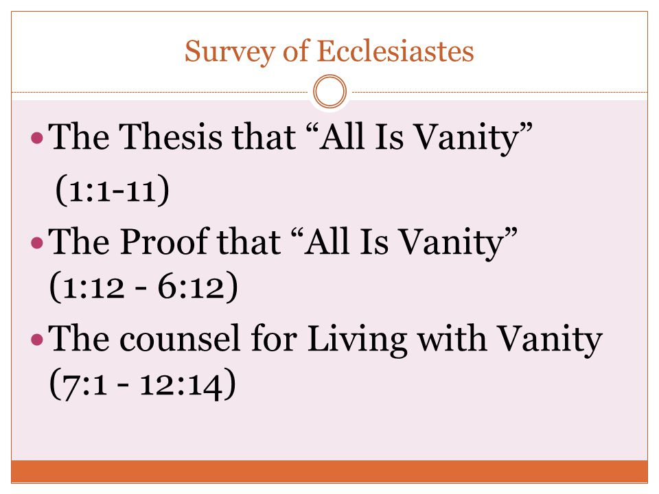Survey of Ecclesiastes