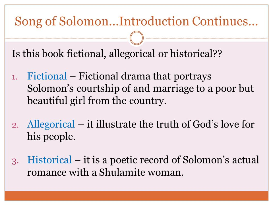 Song of Solomon...Introduction Continues...