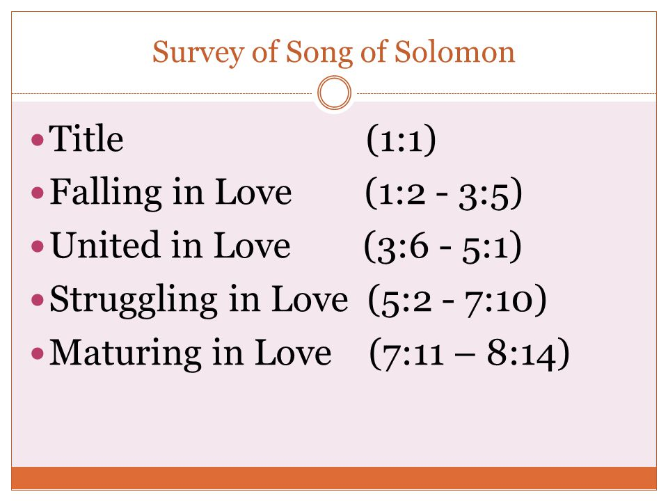 Survey of Song of Solomon
