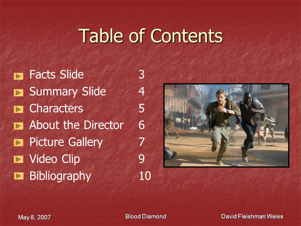 Table of Contents Facts Slide 3 Summary Slide 4 Characters 5