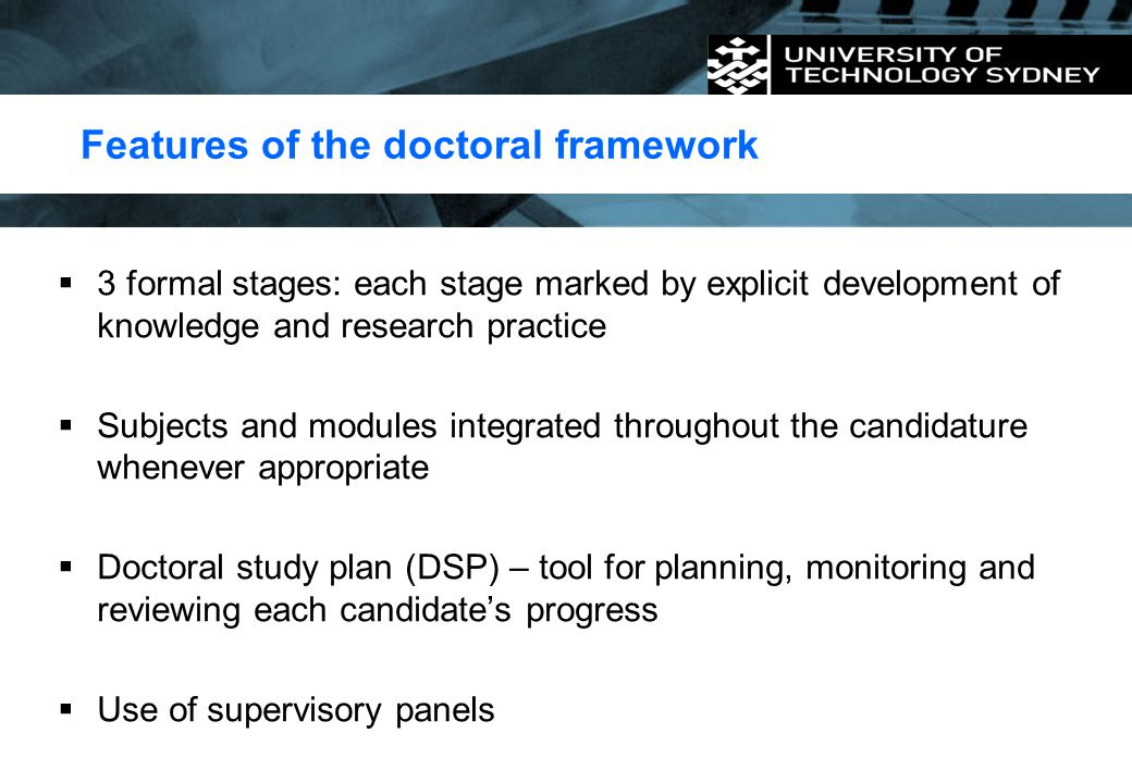 Features of the doctoral framework