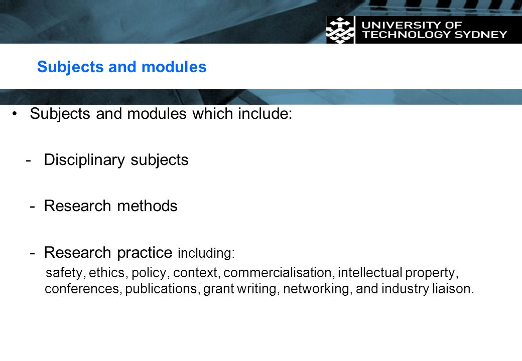 Subjects and modules which include: Disciplinary subjects
