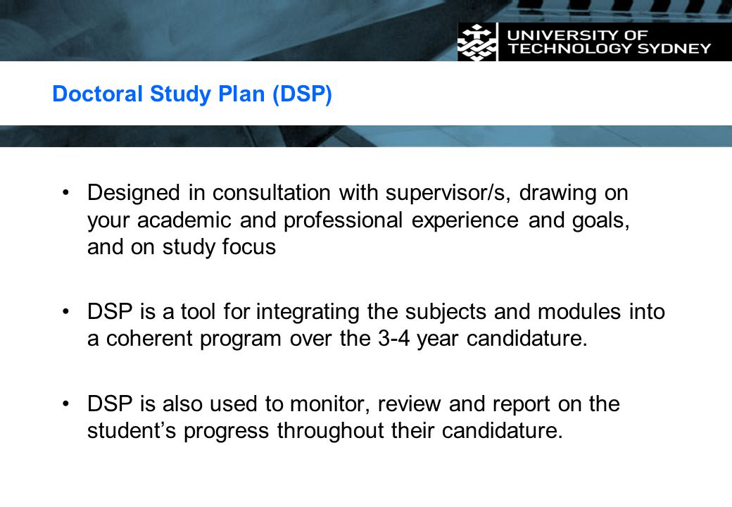 Doctoral Study Plan (DSP)