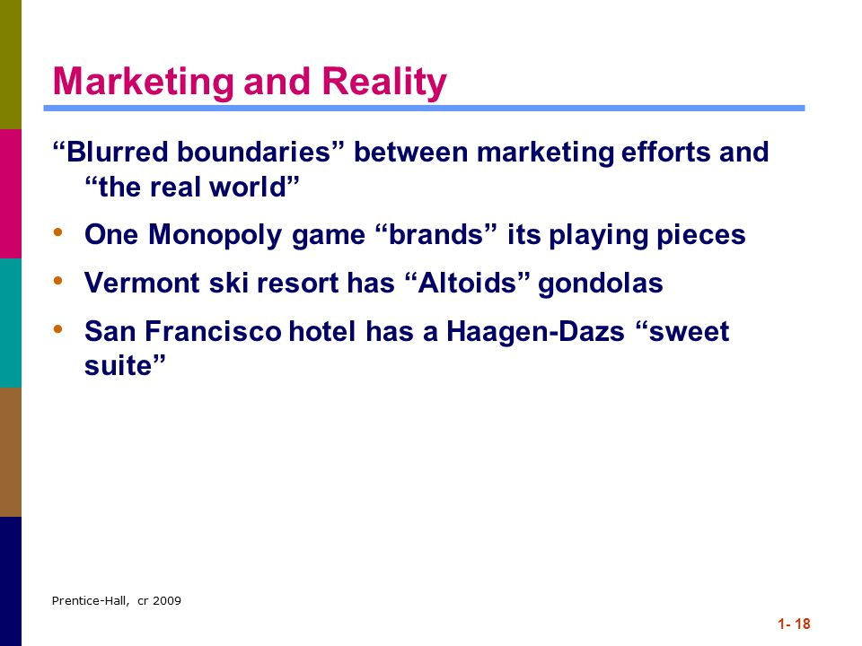 Marketing and Reality Blurred boundaries between marketing efforts and the real world One Monopoly game brands its playing pieces.
