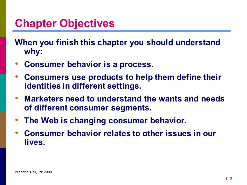 Chapter Objectives When you finish this chapter you should understand why: Consumer behavior is a process.