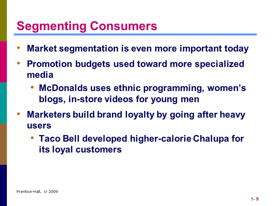 Segmenting Consumers Market segmentation is even more important today