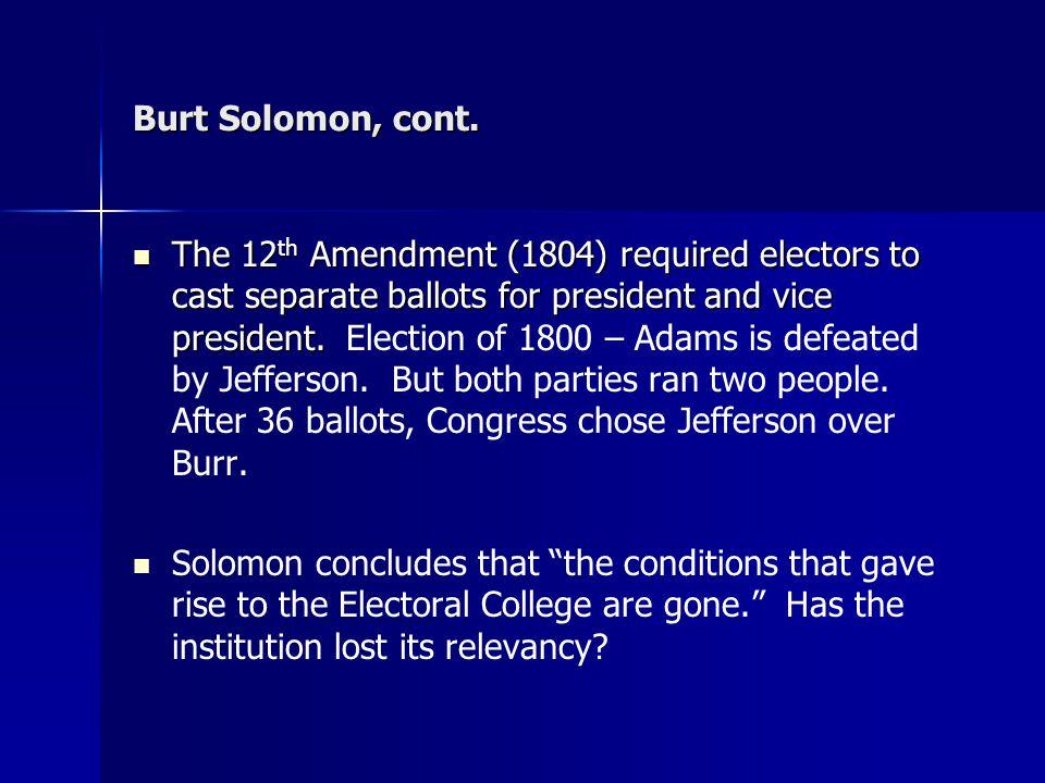 Burt Solomon, cont.